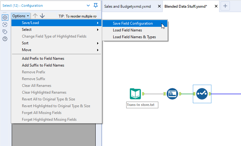 Alteryx Save and Load File Configuration