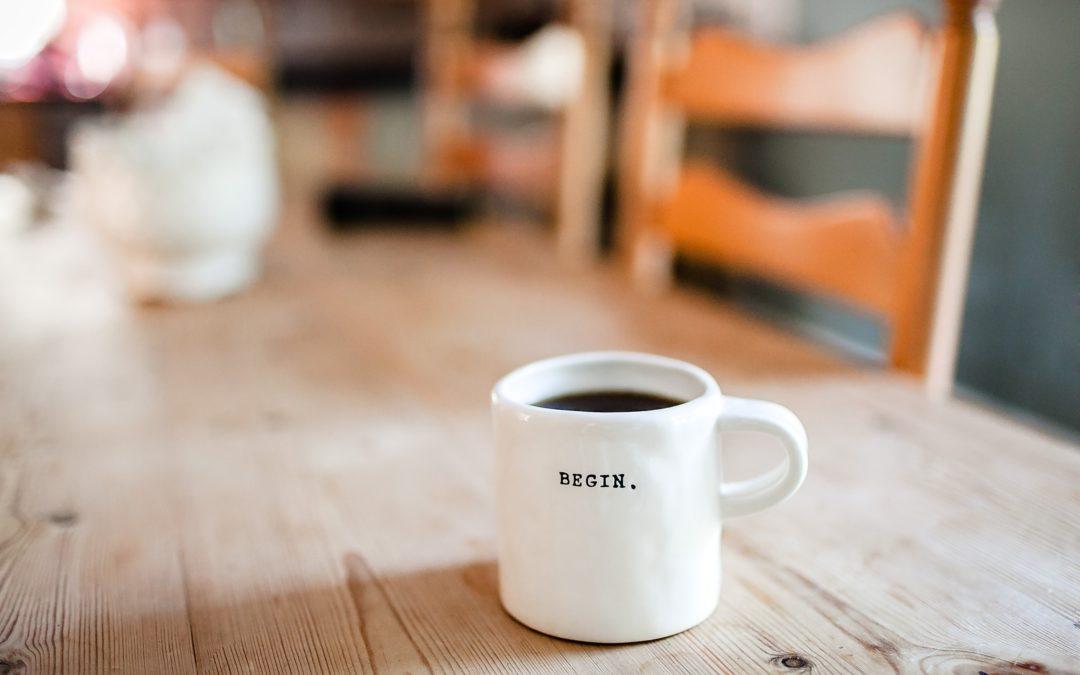 mug with the word begin