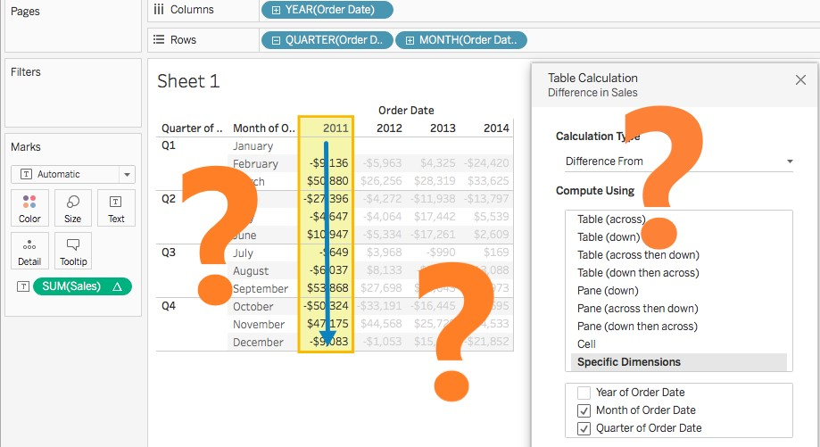Filtering data using Table Calculations in Tableau