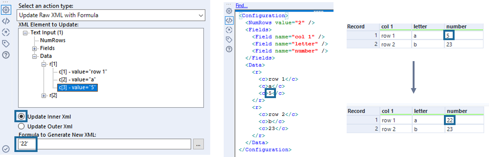Action Tool Update XML Example